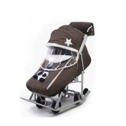 Санки-коляски Pikate Toy темно оливковый (мембранная ткань, овчина, 3 положения спинки, краска рамы белый)